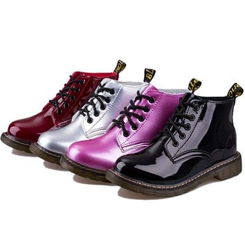 Patent Leather Boots Women School Style Lace Up Shoes  Motorcycle Ankle Boots