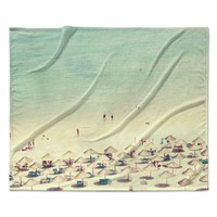 "Ingrid Beddoes ""Happy Summer"" Beach Fleece Throw Blanket"