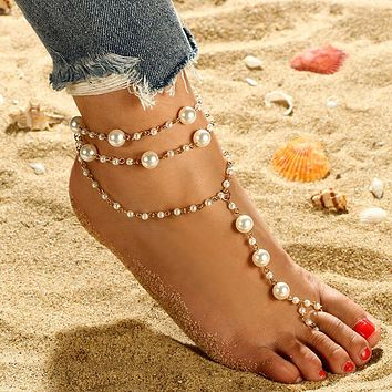 Pearl anklet three-layer handmade beaded