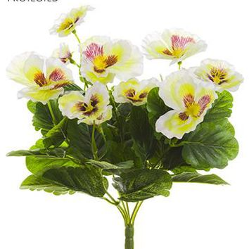 """White Yellow UV Protected Outdoor Silk Pansy Bush - 11"""" Tall"""