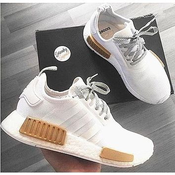 Adidas NMD R1 3M Reflective shoelace Fashion Trending Running Sports Shoes White-Golden B/fashionsel