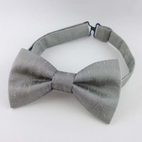 Silver silk bow tie pre tied adjustable - bow ties for men - dupioni silk already tied bowtie