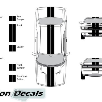 "Dodge Challenger 2011 Dual 8"" Rally Racing Stripes Vinyl Decal Kit"