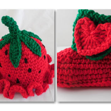 Strawberry Baby Beanie and Booties - Set
