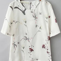 White Branch Print Short Sleeve Blouse