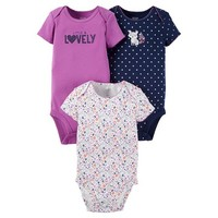 Baby Girls' 3 Pack Short Sleeve Fox Bodysuit Set Purple - Just One You™Made by Carter's®