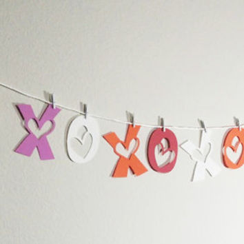 XOXO Cupid Banner, Valentines Decoration, Party Decoration, Hugs and Kisses, Love Banner, Valentines Garland