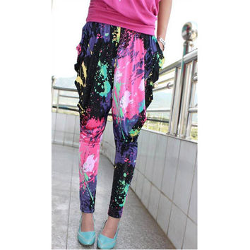 Paint Splatter Print Harem Pants