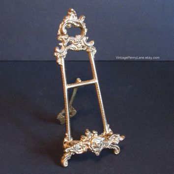 Vintage Brass Easel Frame / Art Stand, Metal Display