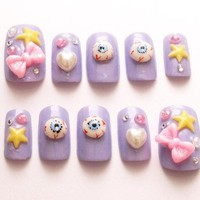 Pastel Goth Creepy Kawaii 3d Nails Star Bows Nail Set Harajuku Japanese Fashion Eyeballs Kyary Fake Nails