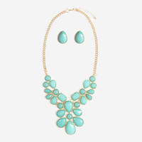 Turquoise Floral Bib Necklace Set