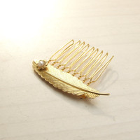 Gold Hair Comb, Feather Hair Comb, Hair Accessories, Fairy, Wedding Hair jewelry,Bridal hair Comb, Bridesmaids Hair Accessorry