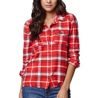 Billabong Nite Break Plaid Shirt - Womens Shirts - Red