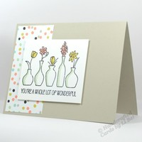 You're Wonderful Handmade Any Occasion Card With Vases Of Flowers
