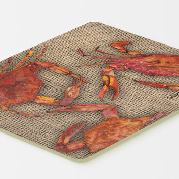 Cooked Crabs on Faux Burlap Kitchen or Bath Mat 20x30