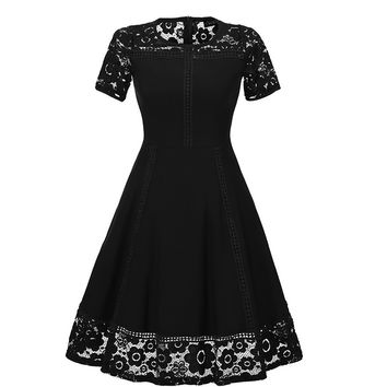 Black Floral Lace Split Skater Dress