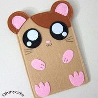 "Felt Kindle Case - Kindle 3 Cover - Kindle Fire Case - Kindle Touch Cover - Nook Case - Kindle Felt Sleeve - "" Cute Hamster "" Design"
