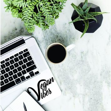Vegan Vibes Laptop Apple Macbook Quote Wall Decal Sticker Art Vinyl Cruelty Free Healthy Plant Organic