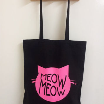 Meow! Cat Black Cotton and Neon Pink Tote Bag