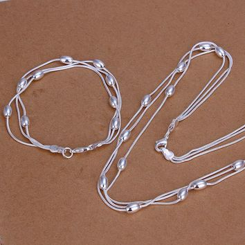 Three wire solid beads  925 stamp silver plated fashion jewelry set