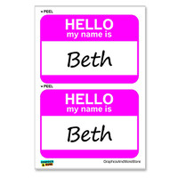 Beth Hello My Name Is - Sheet of 2 Stickers