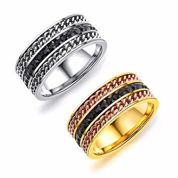 European 3- Row Wide Line Black Or Gold Titanium Ring