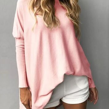 Pink Boat Neck Fitted Sleeve Oversized T-shirt