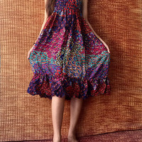 Strapless Smock Dress Gypsy Hippie Boho Ruffle Skirt Festival Outfit for Women Cloth Summer Beach Sundress Paisley peacock Bohemian fashion