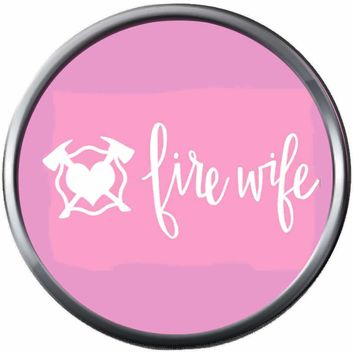 Pink Axe Heart Firefighter Wife Thin Red Line Courage Under Fire 18MM-20MM Snap Charm Jewelry New Item