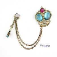 Brooch  Crown Scepter Chatelaine Vermeil