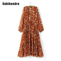 Sukibandra Summer Long Sleeve Floral Print Flower Maxi Women Dress Boho Chic Bohemian Hippie Ruffle Dress Orange Beach Dress