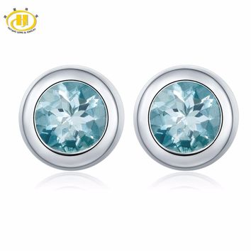 Hutang 1.38ct Natural Aquamarine Stud Earrings Solid 925 Sterling Silver Bezel Set Gemstone Fine Jewelry Women's gift 11.11