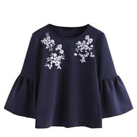 Women's Cute Round Neck Embroidered Bell Sleeve Blouse Top
