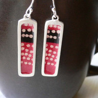 Japanese Paper Earrings - Reversible - Magenta & light green