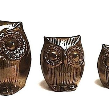 Three Vintage Brass Owls