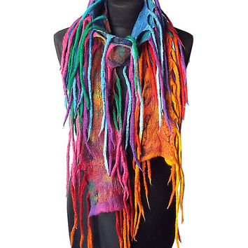 Felted scarf felt scarf felted necklace handmade art to wear multicolor black rainbow felt fun necklace colorful boho winter gift OOAK