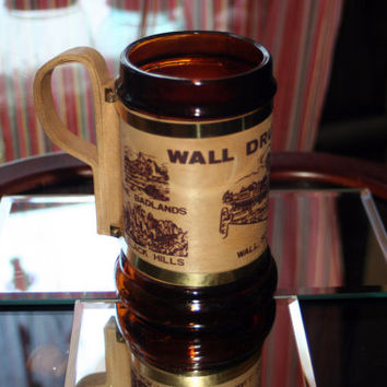 Wall Drug Store Vintage Souvenir Mug Brown Glass with Wooden Handle & Brass Accent