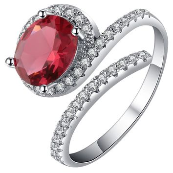 New arrival fashion silver color ring for women unique rose shape trendy jewelry Pomegranate red crystal cubic zircon bague