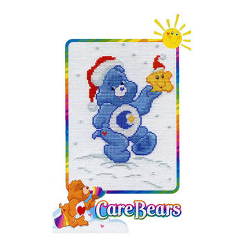 """CARE BEARS CROSS STiTCH Bedtime Bear With Star Counted Cross Stitch Kit 5' x 7"""" DiY Nursery Room Wall Art UNOPENeD Mint Condition"""