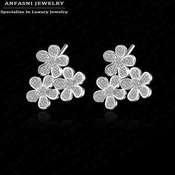 Fashion Earing Three Flower Plated Ear Stud Jewelry High Quality Leaf Ear Stud Earrings For Women -0330