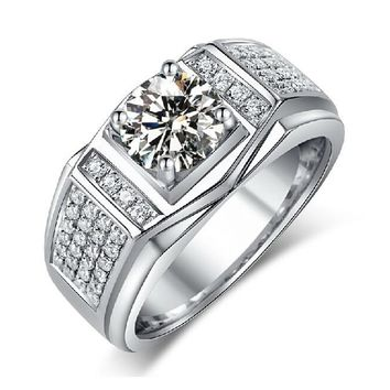 choucong Solitaire Jewelry Men White Stone 5A Zircon stone 10KT white gold filled Engagement Wedding Ring Sz 7-13 gift
