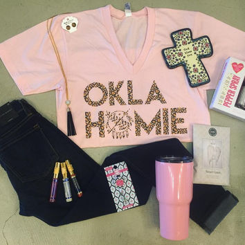 Oklahomie Light Pink with Leopard t-shirt