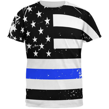 Distressed Thin Blue Line American Flag All Over Mens T Shirt