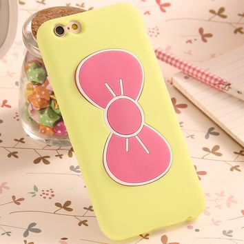 2017 Case For iPhone 7 6S Plus Fashion Lovely 3D Bow-knot Soft Silicon Case For iPhone 6 6S 5 5SE 4 4S Candy Color Stand Holder Cover -0328