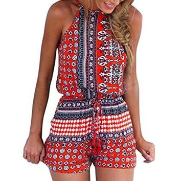Ayliss Women's Sexy Cut out back Bohemian Casual Loose Romper Playsuit