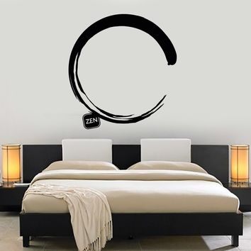 Vinyl Wall Decal Enso Circle Zen Japanese Calligraphy Art Stickers Mural Unique Gift (475ig)