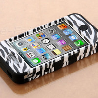 Stylus + For iPhone 4 4S Hybrid High Impact Case White Zebra /Black Silicone
