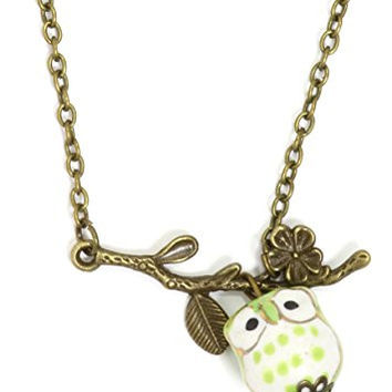 Owl and Branch Necklace Antique Gold Tone Retro Green Charm Pendant NR34 Fashion Jewelry