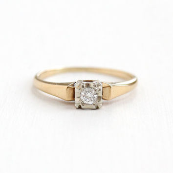 Vintage 14k Yellow & White Gold 1/10 Carat Diamond Solitaire Ring - Size 6.5 1940s 1950s  Mid-Century Engagement Wedding Fine Jewelry