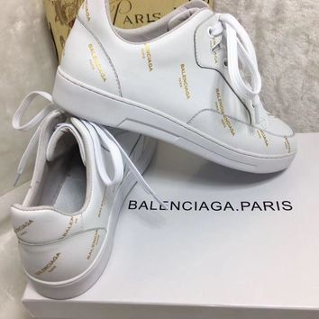 Balenciaga Men's Monogram Leather Casual Sneakers Shoes